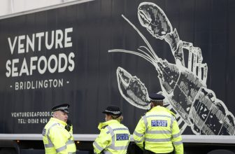 UK seafood trucks protest at Parliament over Brexit red tape